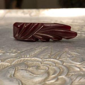 Bakelite Accessories - Vintage Bakelite Maroon Scarf Pin